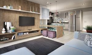 Sala de estar planejada sob medida Lojas Veneza conjugado com cozinha planejada sob medida