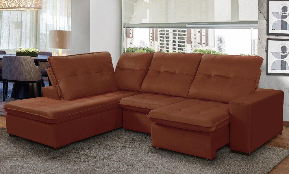 sofá de 5 lugares retrátil e reclinavel grandelly marselha em sala de estar na cor cobre